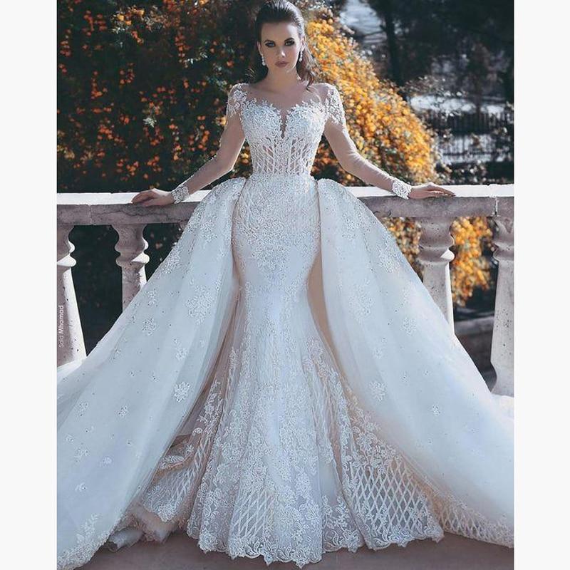 Saudi Arabia Romantic Bridal Gown vestido de noiva Long Weding Gowns mariage Full Sleeves Bridal Dress Detachable Overskirt