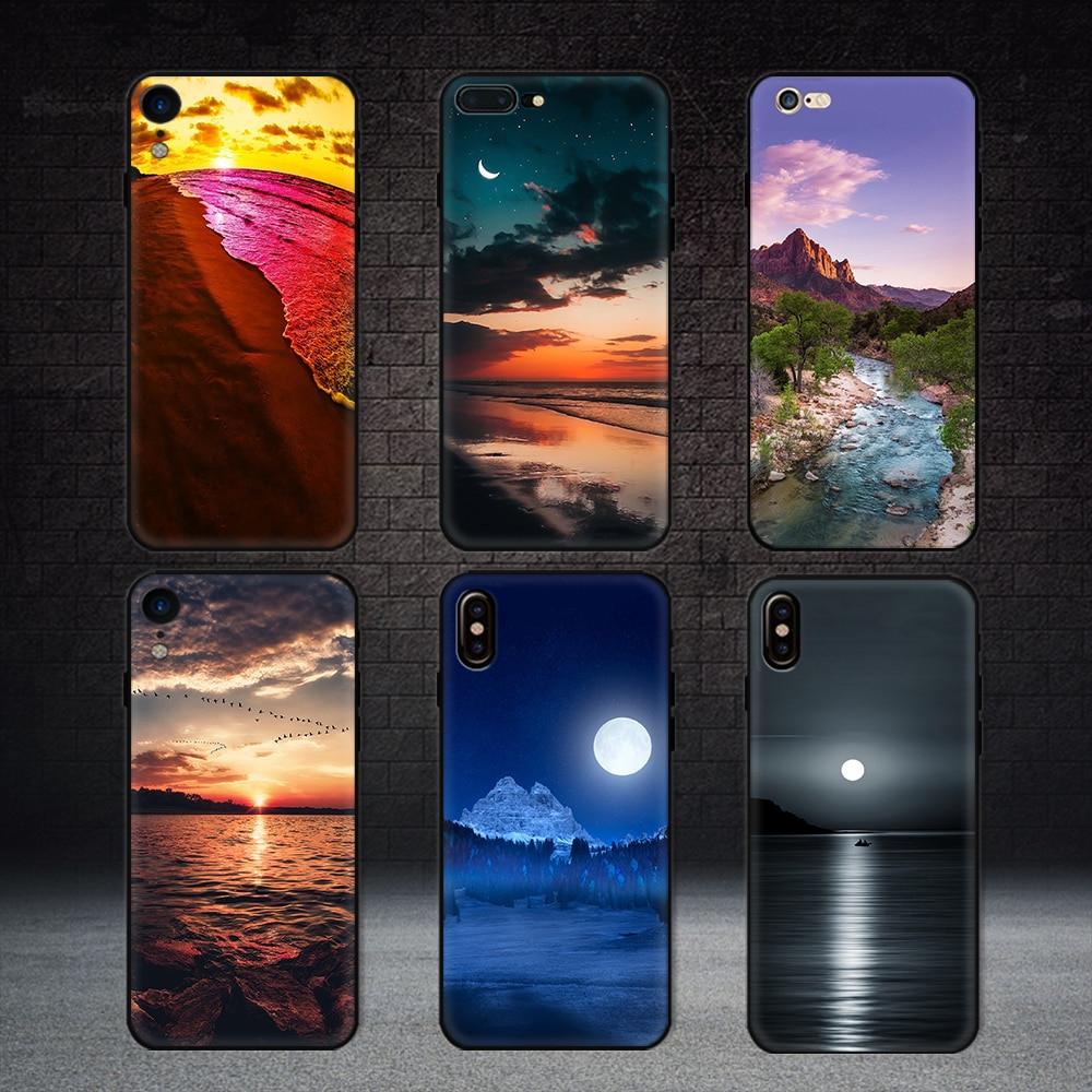 Funda más nueva para iphone xs mate natural cubierta de paisaje para iphone 5 5s se 7 8 6 6 S plus xr xs max Sunset Lake Luna Conque