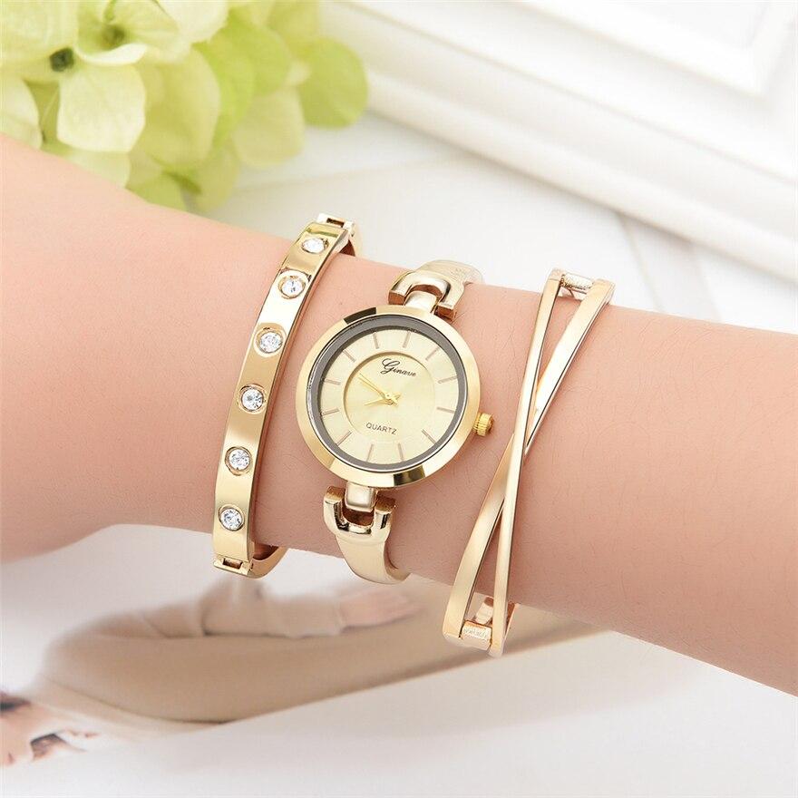 Golden Women Bracelet Watch Rhinestone Quartz Wristwatch Fashion Luxury Watch Women Dress Watches Female Clock relogio feminino enlarge