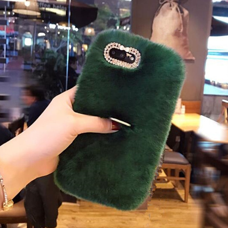 LaMaDiaa Furry Rabbit Fur Phone funda para Samsung S5 S7 S6 edge S8 S9 Plus Capa con soporte de anillo para Samsung N4 N5 N8 contraportada