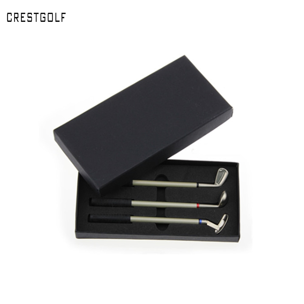 CRESTGOLF Golf Clubs Shaped Alloy Ballpoint Pen Gift Sets New Design With 3 Mini Clubs Pens Novelty