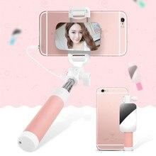 Candy verdrahtete selfies stick erweiterbar handheld einbeinstativ mini stativ mit spiegel für android iphone samsung 6 s lg huawei p7