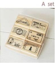6 Stks/set Top Kwaliteit Mooie Ontwerp Vintage Reizen Houten Rubber Stempel Scrapbooking Craft Dagboek Postcard Diy Set Decor Een Stijl