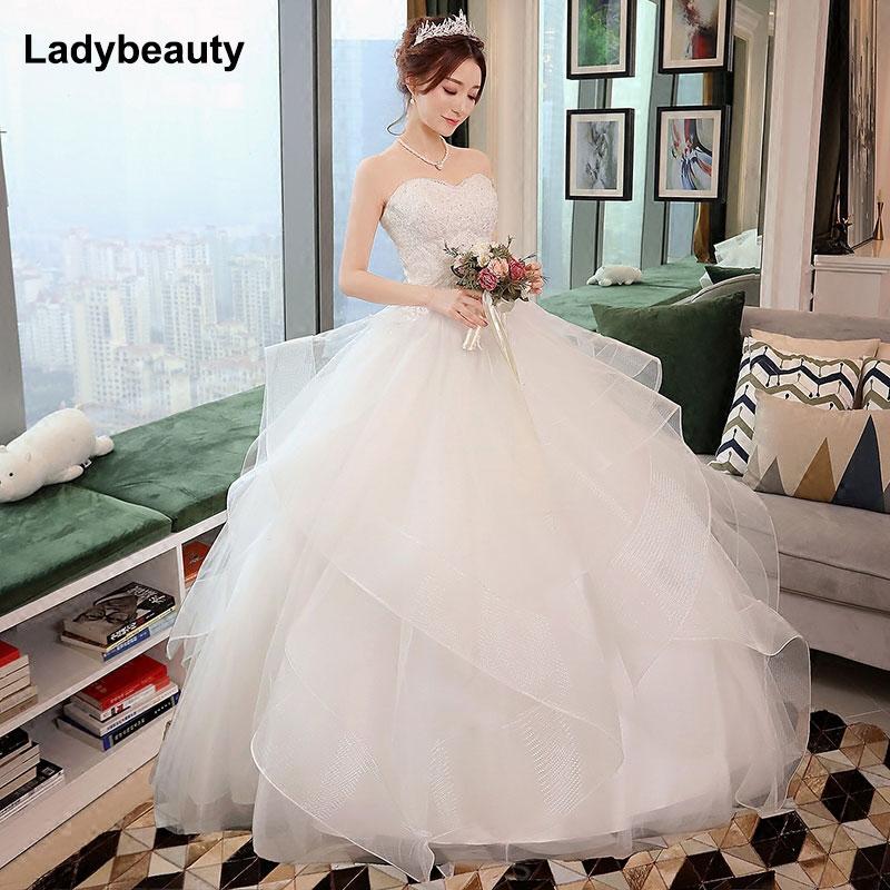 Nuevos vestidos de Boda de Princesa elegantes 2018 dulce Vestido de fiesta con cordones en la espalda tul largo hasta el suelo vestidos de novia Vestido de novia
