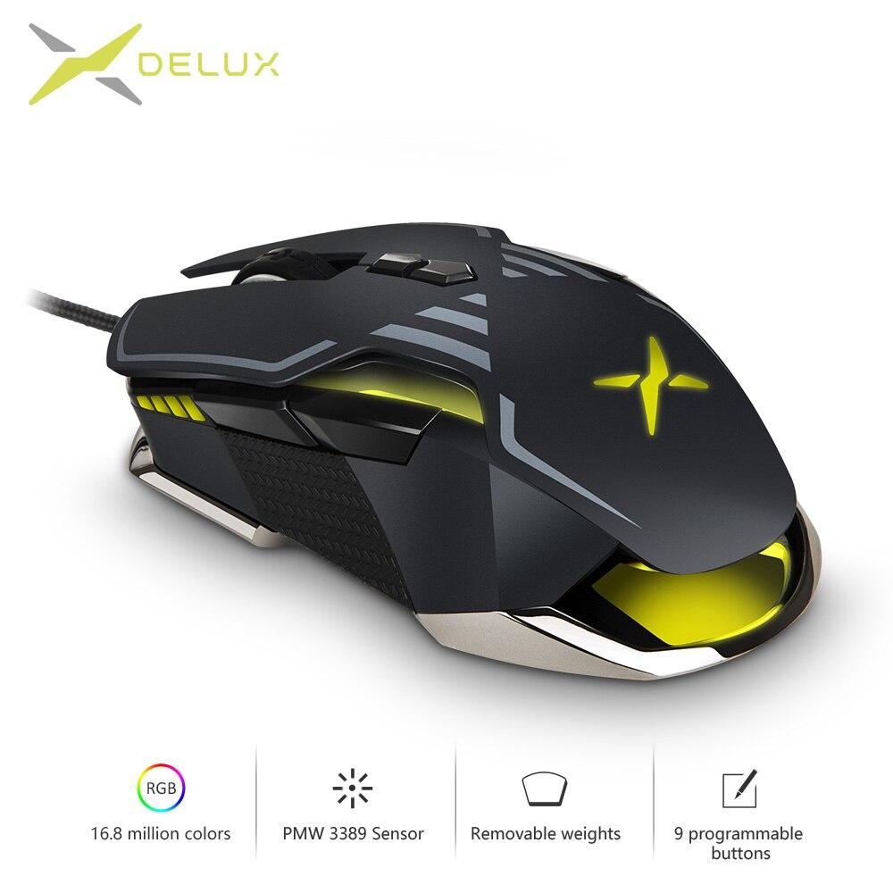 Delux M628 PMW3389 Sensor 16000 DPI Gaming Maus 9 Tasten 50G ACC RGB Verdrahtete Optische Sowohl Hände Mäuse mit gewicht set Für Gamer