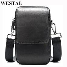 WESTAL bag hommes petit sac à bandoulière hommes en cuir véritable hommes sacs à bandoulière pour téléphone portable sac ceinture taille packs pour hommes sac à main