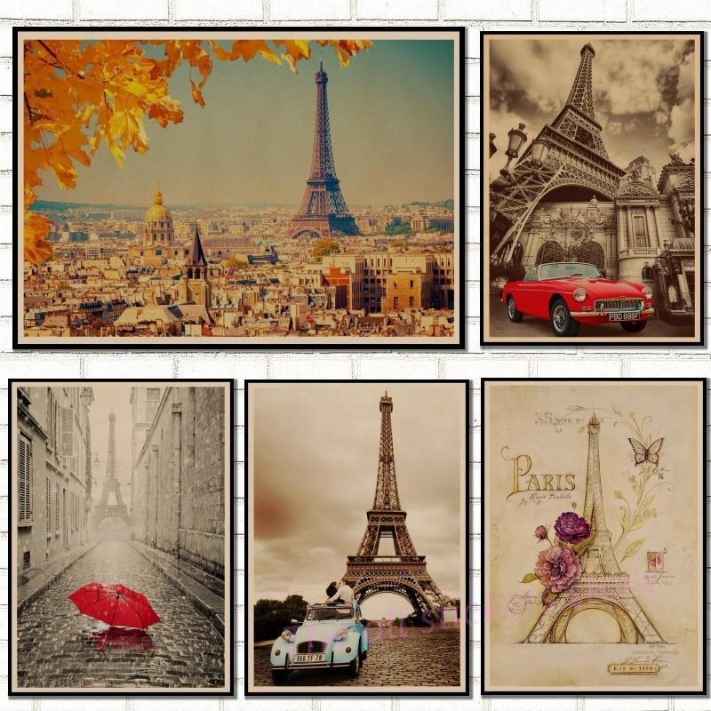 Retro poster France Paris Eiffel Tower Poster Kraft Paper vintage Posters Wall Sticker Living Room Bar Cafe Decor/50052