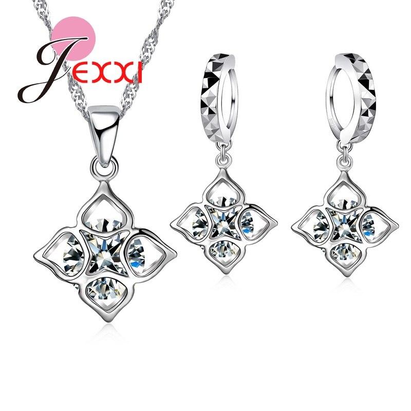Requintado zircão cúbico cristal carve flor colar brincos quadrados 925 prata esterlina brincos collier colar acessório
