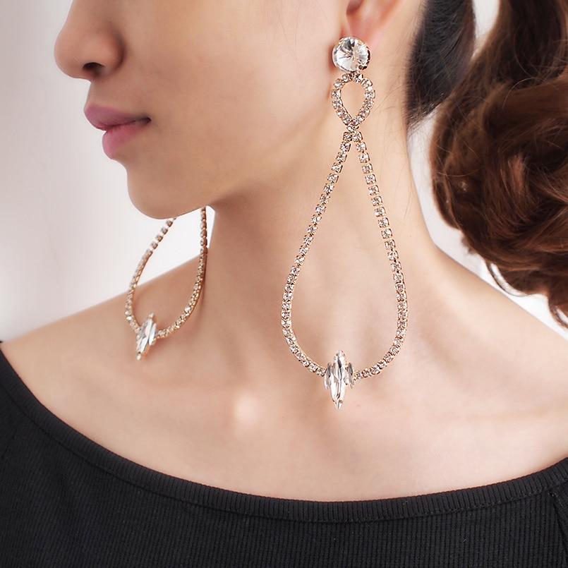 Women Shiny Big Crystal Statement Pendant Earings Luxury Rhinestones Dangle Earrings Party Wedding Bride Jewelry