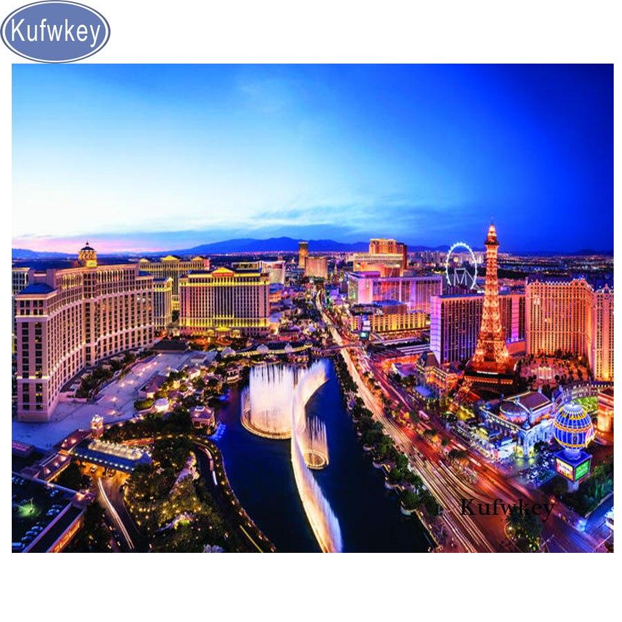 Kufwkey diy pintura diamante cenário noite praça strass diamante bordado las vegas cidade msoaic padrões broca redonda completa