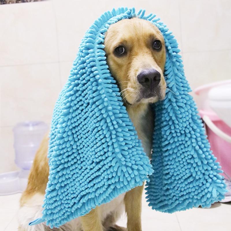 Toalla de fibra para mascotas Chenille perro toalla absorbente de secado rápido gato cachorro perro grande Toalla de baño grande suministros