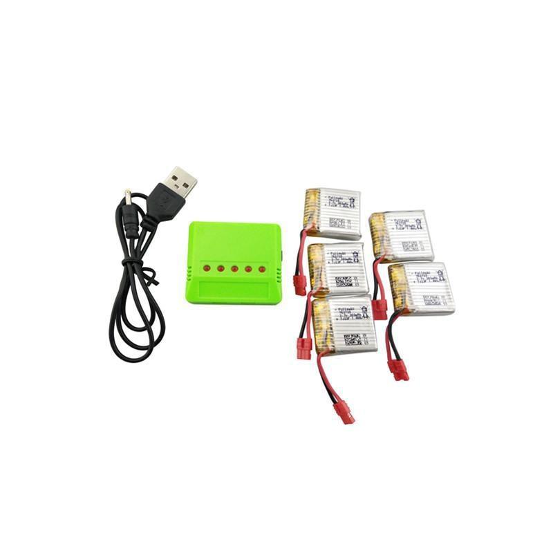 LeadingStar 5 pcs 3.7 v 380 mah Bateria De Lítio com 5-em-1 X21 Equilibrada Carregador para SYMA x21W Bateria Zangão Quadcopter Peças De Reposição
