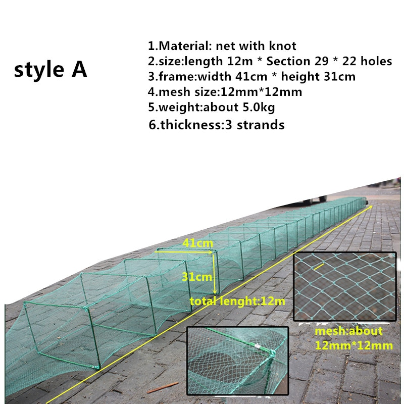 9m-15m fishing cage shrimp cage Crayfish cage fishing network red de pesca outdoor filet peche tool fish trap rede pesca nylon enlarge