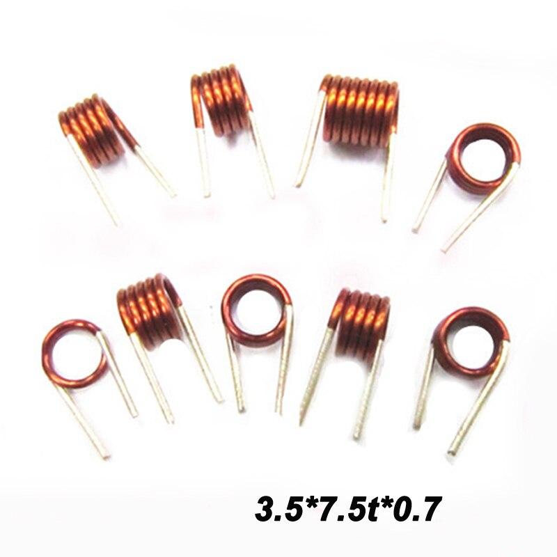 Frete grátis 10pc coilcraft indutor 3.5*7.5t * 0.7 fio de cobre oco bobina indutância controle remoto indutor fm