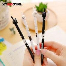 4 pièces/lot Kawaii chat Gel stylo mignon chats cliquez sur Type 0.38mm noir encre stylos papeterie Canetas Escolar fournitures scolaires