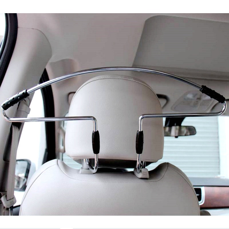 Stainless Steel + Anti Slip Rubber + Metal Seat Headrest Pillar Coat Hanger Frame Car Styling Functional Storage Accessories