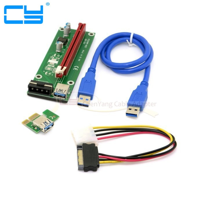 1 juego PCI-E 1x a 16x máquina de minería adaptador extensor mejorado con Cable de alimentación USB 3,0 y SATA