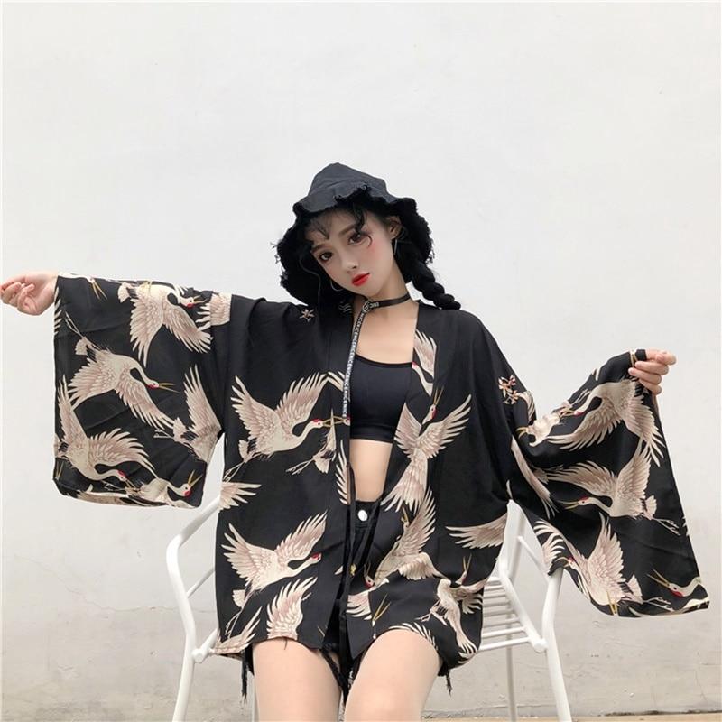 Женский кардиган-кимоно Yukata, рубашка в стиле Харадзюку kawaii, кимоно для женщин, 2019, блузка obi haori, Японская уличная одежда, TA487