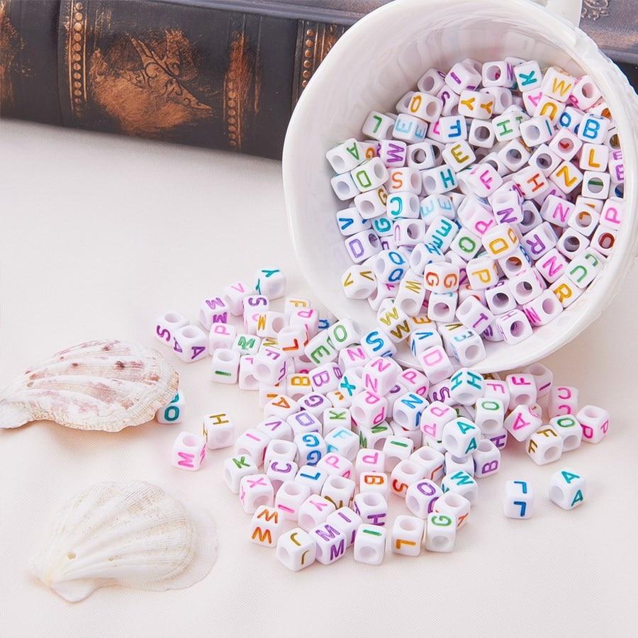 Cuentas de letras artesanal de 6mm para fabricación de joyas, collares y pulseras DIY de colores blancos, accesorios de venta al por mayor, lotes de 100 unidades