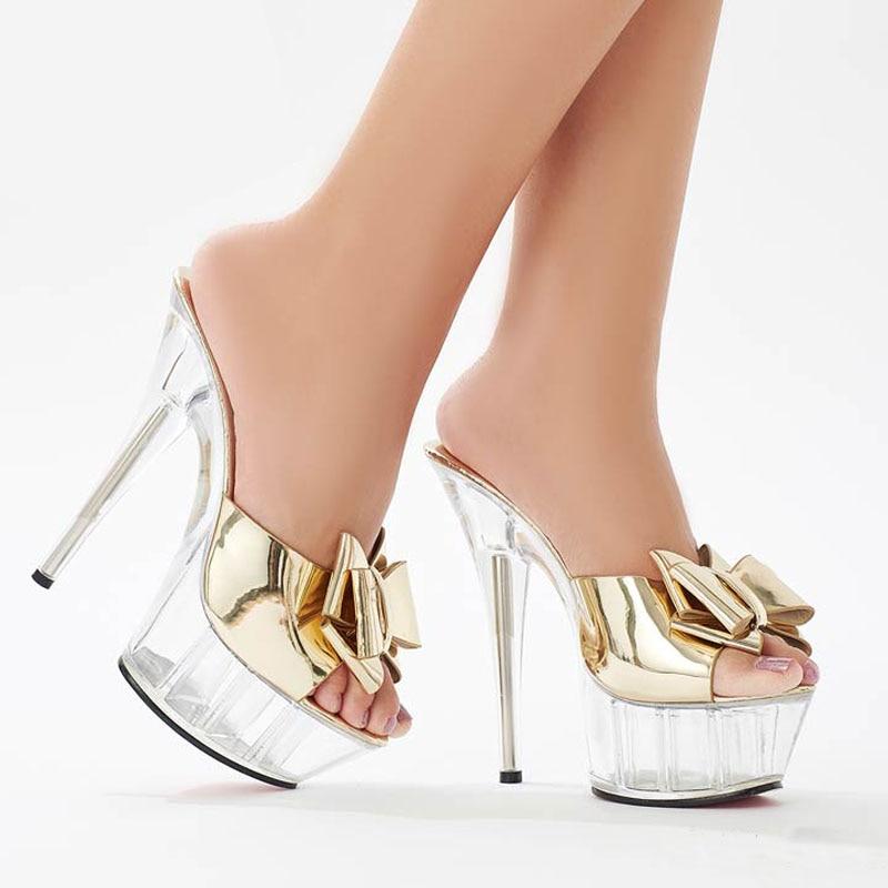 Zapato de baile en Barra de 15CM de altura con zapatilla, lazo de cristal, zapato sexy de baile en barra, zapato de baile con fondo grueso