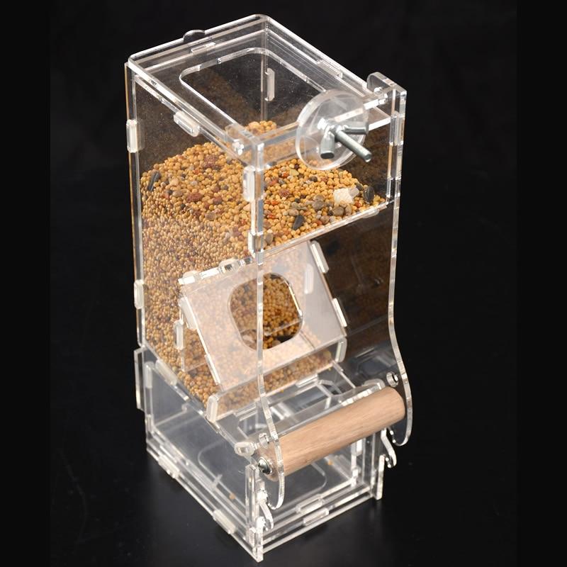 Acrílico alimentador de pájaros automático Alimentación de Mascotas Dispositivo de contenedor de alimentos accesorios para jaulas de pájaros para loro periquito canarias