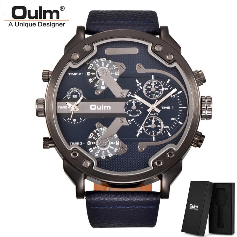 Oulm classique plusieurs fuseaux horaires hommes montres Super grand cadran mâle montre de Sport marque de luxe décontracté en cuir montre à Quartz