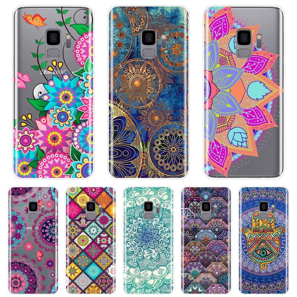 Mandala funda trasera de flores para Samsung Galaxy Nota 9 8 5 4 suave del teléfono de silicona funda para Samsung Galaxy S8 S9 más S5 S6 S7 borde