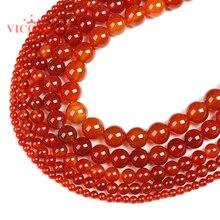 Cornalina natural ronda cuentas de ágata roja 8 MM 10 MM 12MM encanto pulsera collar artesanía Diy cuentas para fabricación de joyería Diy