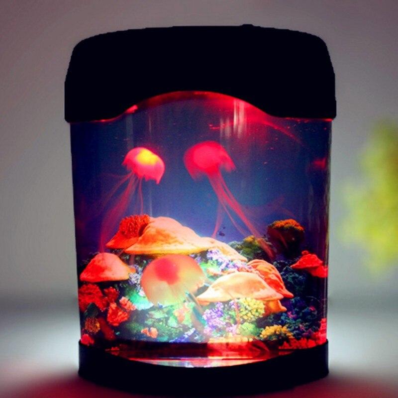 Mini lámpara de acuario de medusas con LED USB, luz de noche con tanque de peces, decoración del hogar, regalos para niños