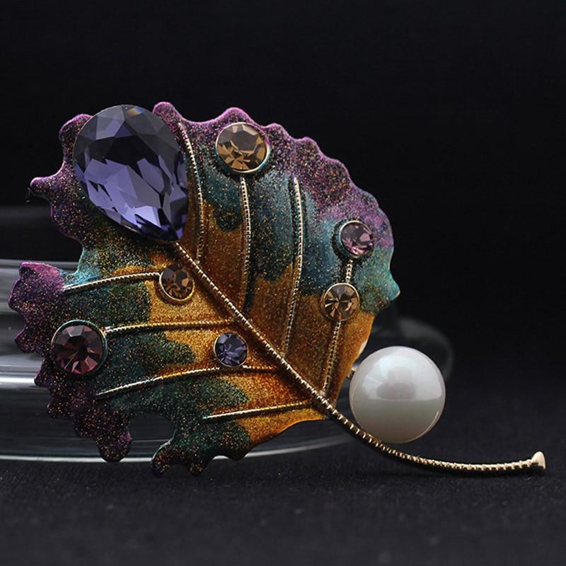 Роскошные брендовые фиолетовые эмалированные Броши с листьями из страз, женские Украшения, лучшие украшения для свадьбы, идеальная брошь с ...