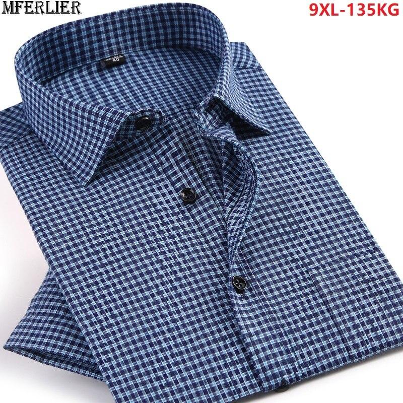 Chemises dété pour hommes à manches courtes chemise formelle affaires mans robe de bureau rayé chemise de mariage grande taille 5XL 6XL 7XL 8XL 9XL