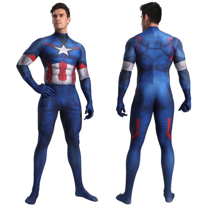 Captain America Cosplay Costume Zentai Superhero Bodysuit Adults Kids Unisex One-Piece Tight Suit Spandex Jumpsuits
