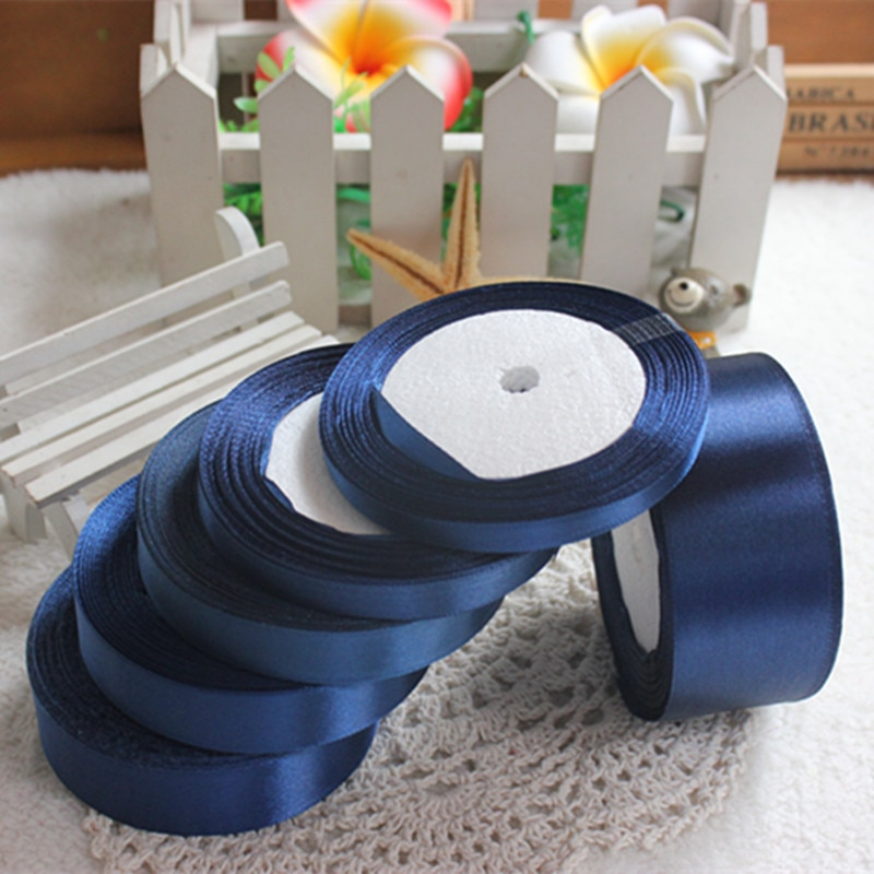 25 metros de tinta azul de seda cinta de raso para boda fiesta de embalaje de regalo de decoración de Navidad Año Nuevo talla cinta de tela de costura