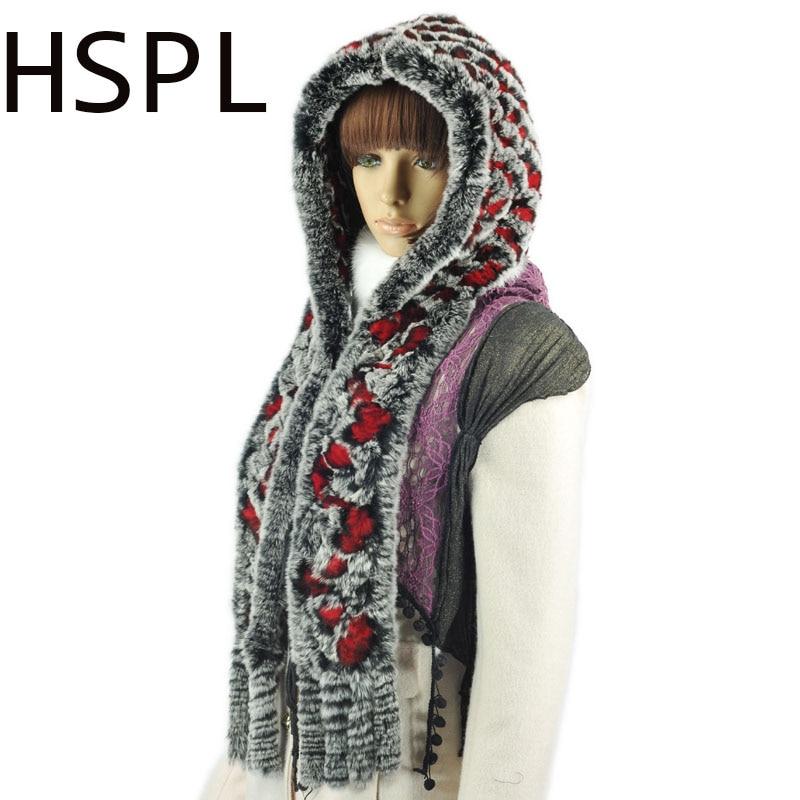 HSPL 2017 Rex Rabbit Fur Hat With Scarf Women For Winter