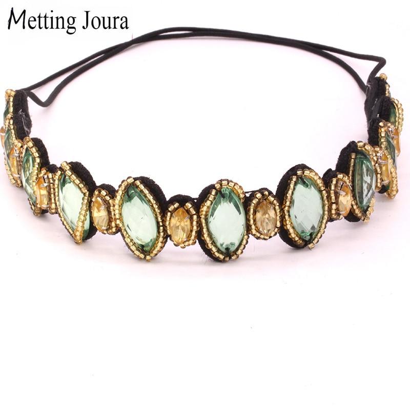 Винтажный богемский этнический вязаный ободок с золотыми и зелеными бусинами, вечерние эластичные плетеные обручи для волос