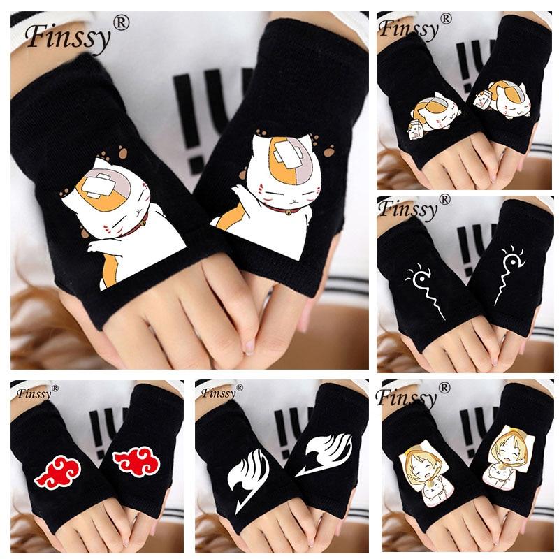 1 Pair Anime Fairy Tail Naruto Fingerless gloves Kawaii Natsume Yuujinchou Gloves Nyanko Sensei Cat cosplay Knitted Warm Gloves