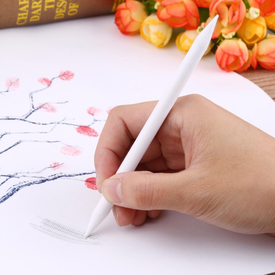6 pçs pastel papel de carvão vegetal esboço desenho da arte pintura esboço desenho caneta branca cabeça dupla tocos de papel esboço papel branco caneta