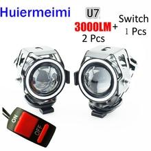 Phare de Moto 3000LM 125W 12V   Flash à faisceau haut et bas, U7 de conduite, phare de direction pour Moto, lampe auxiliaire DRL