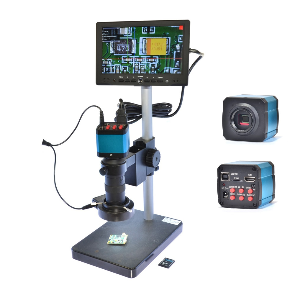 Hayear 14MP HDMI USB цифровой промышленный микроскоп камера 100X Zoon C-mount объектив 7 дюймов HDMI ЖК-монитор для PCB мобильного ремонта DIY
