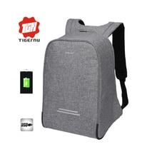 2017 Tigernu Anti-voleur USB charge 15.6 pouces ordinateurs portables dentreprise sac à dos pour femmes hommes sac à dos école sac à dos sac mâle Mochila