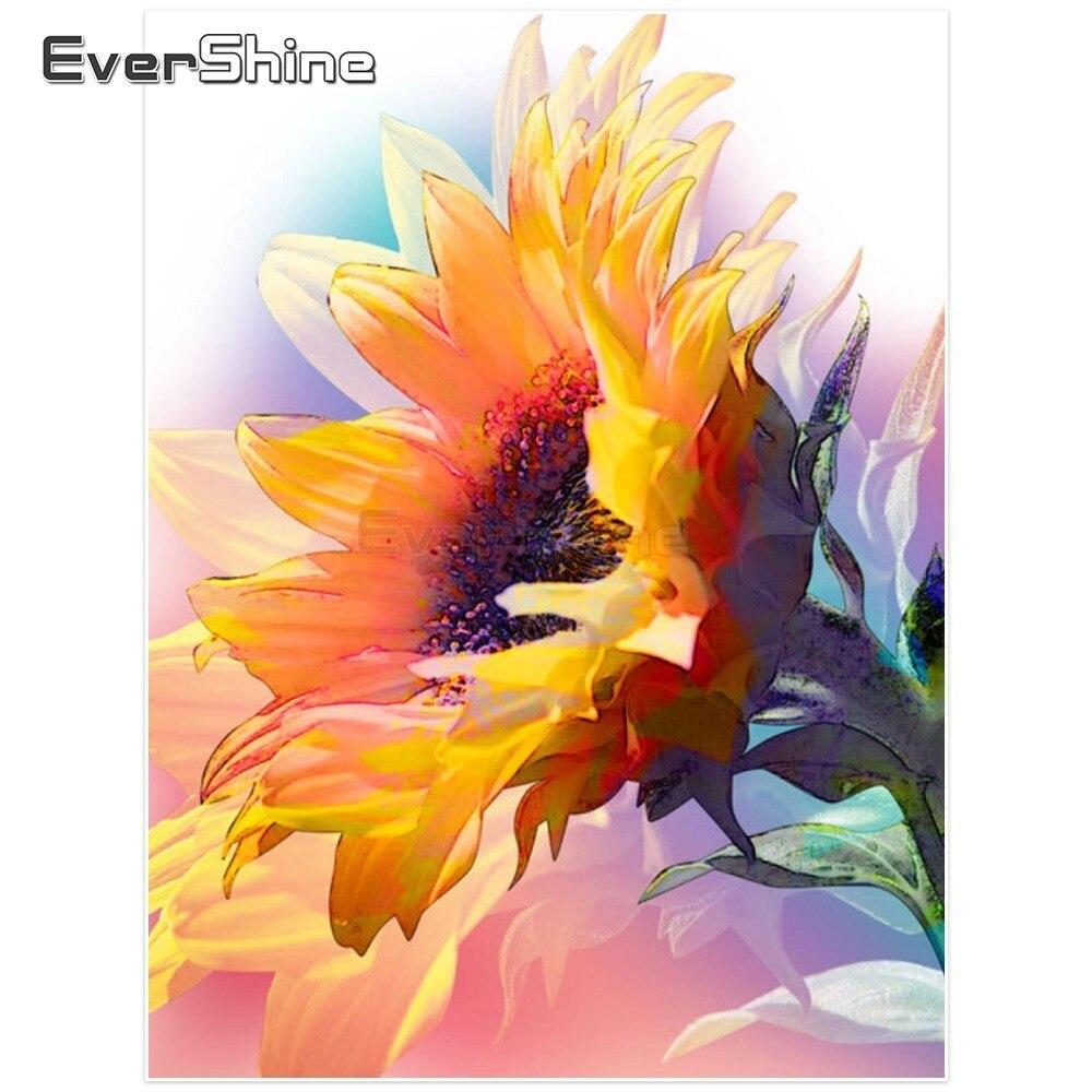Cuadro de diamantes EverShine ejercicio completo redondo girasol imágenes de diamantes de imitación bordado de diamante con flores papel tapiz decoración 5D