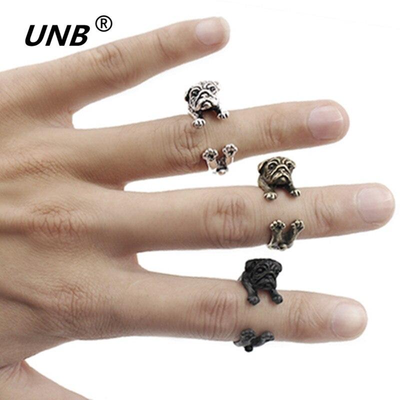 Женское кольцо ручной работы Love Famous, модное ювелирное изделие с изображением мопса, кольца с животными для мужчин и женщин, черное кольцо boho bague anillos hombre Aneis