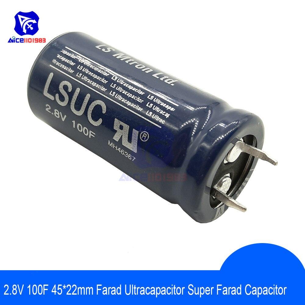 Capacitor super de alta frequência 2.8v100f 45x22mm de ultracapacitor 2.8 v 100f 45*22mm do esr baixo para a fonte de alimentação do automóvel do veículo do carro