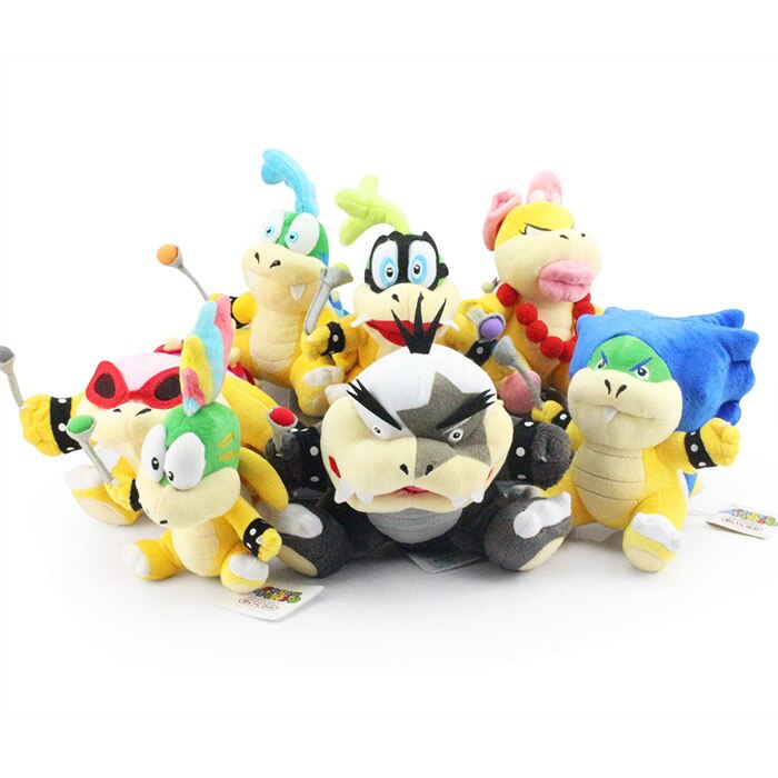 7pcs/lot Super Mario Bros Plush Toys 7inch Koopa Series Plush Doll Wendy / Larry / Iggy / Ludwig / Roy / Morton / Lemmy O.Koopa