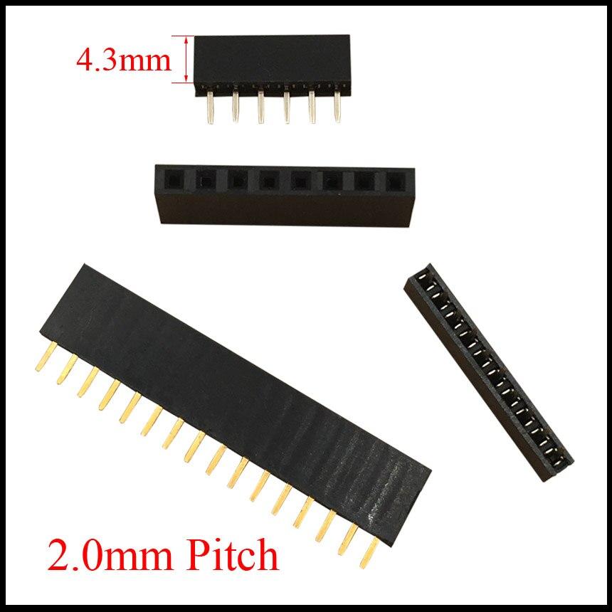 1x11 1x11 1x12 1x12 1x14 1x14 Pin 11P 12P 14 P paso de 2,0mm conector hembra de altura de 4,3mm tira de conectores de pines rectos de una sola fila