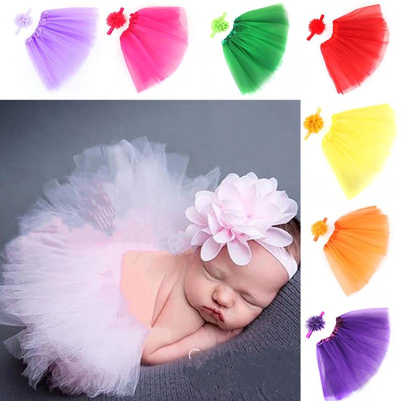 1 set Lovely Girls Tutu Skirt + Headband Set Newborn Photography Props Baby Studio Photoshoot Costume Hair Band Accessories