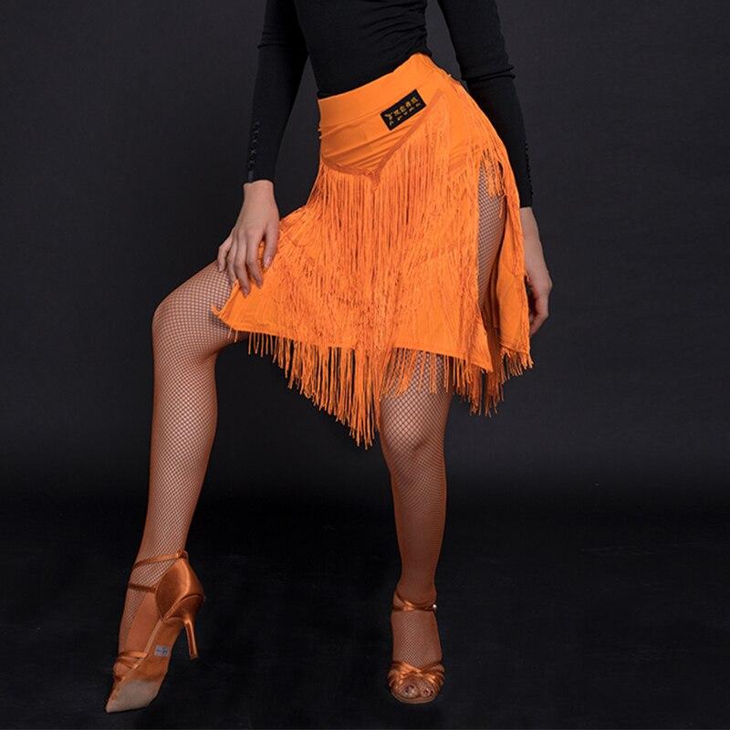 Falda de baile latino sexi para mujer, falda con flecos divididos, falda para adultos, Salsa Rumba, cha-cha, Samba, Ropa de baile de práctica, DN3620