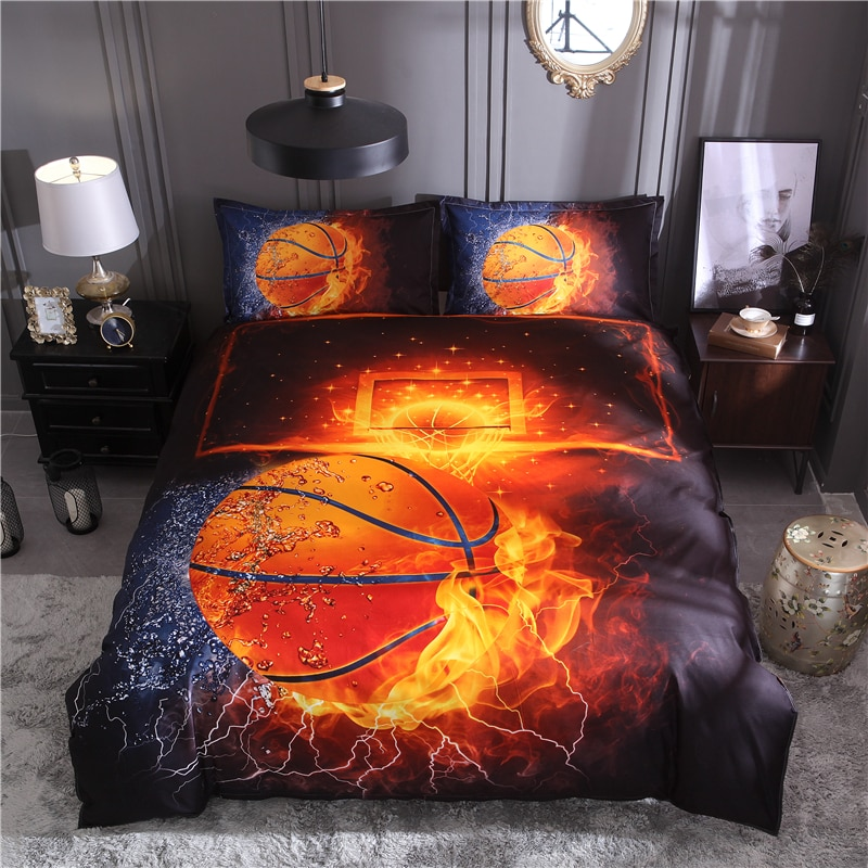 20 juegos de ropa de cama de fútbol con impresión de baloncesto 3D tamaño de la Reina 2 piezas/3 piezas Juego de edredón de ropa de cama cubierta
