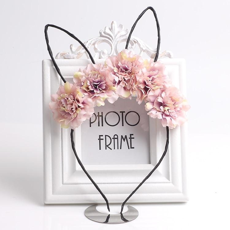 Bonitas diademas con orejas de gato para niños niñas flores aros para el pelo diadema para fiestas tocado de boda Tiaras niñas accesorios para el cabello
