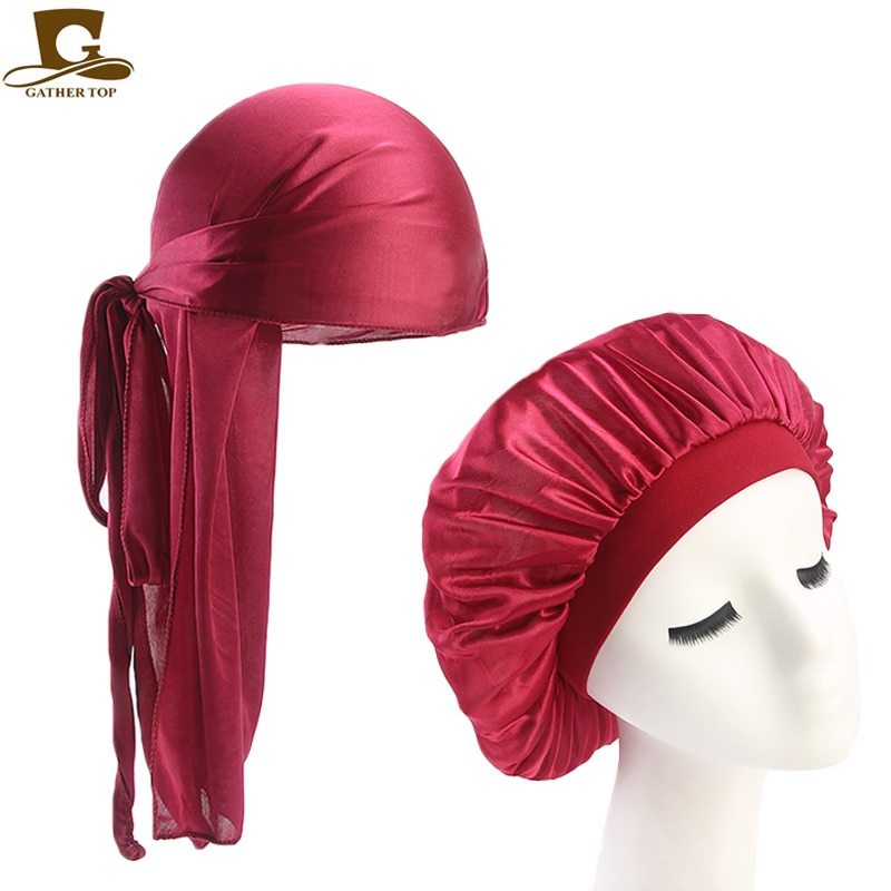 Uni Silky Durag Long Tail And Wide Straps Waves For men Solid Wide Doo Rag Bonnet Cap Comfortable Sleeping Hat